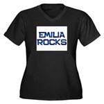 emilia rocks Women's Plus Size V-Neck Dark T-Shirt