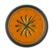 Orange and Gold Large Wall Clock