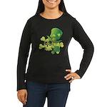 Skull & Shamrocks Women's Long Sleeve Dark T-Shirt