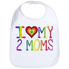 I <3 My 2 Moms Bib