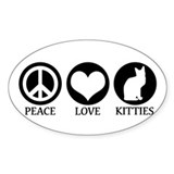 PEACE LOVE KITTIES Oval Bumper Stickers