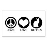 PEACE LOVE KITTIES Rectangle Decal