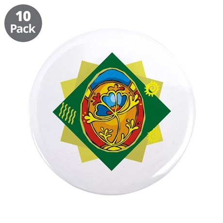"Pretty Easter Egg 3.5"" Button (10 pack)"