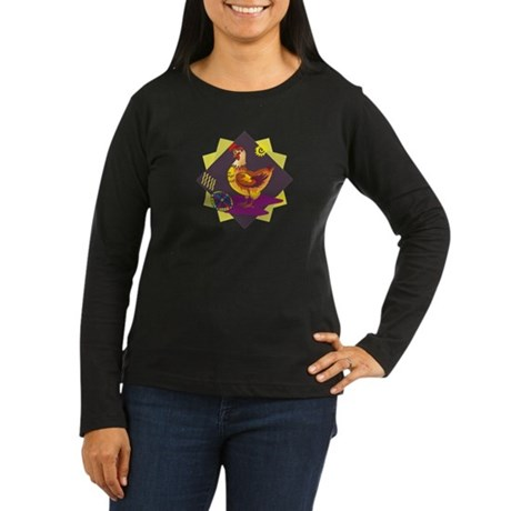 Funny Rooster Easter Women's Long Sleeve Dark T-Sh