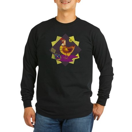 Funny Rooster Easter Long Sleeve Dark T-Shirt