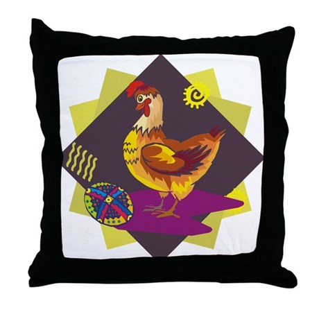 Funny Rooster Easter Throw Pillow