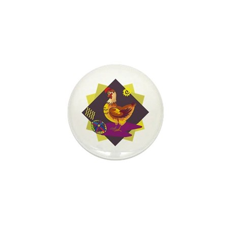 Funny Rooster Easter Mini Button