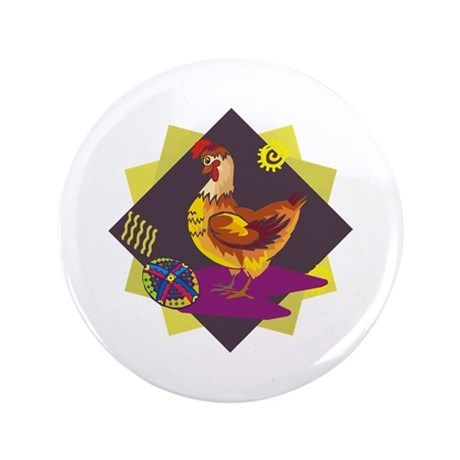 "Funny Rooster Easter 3.5"" Button (100 pack)"