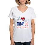 God Bless the USA Women's V-Neck T-Shirt