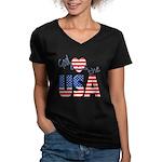 God Bless the USA Women's V-Neck Dark T-Shirt
