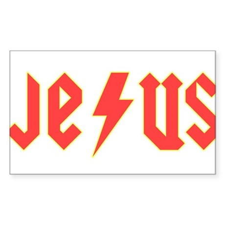 Jesus AC/DC Rectangle Sticker