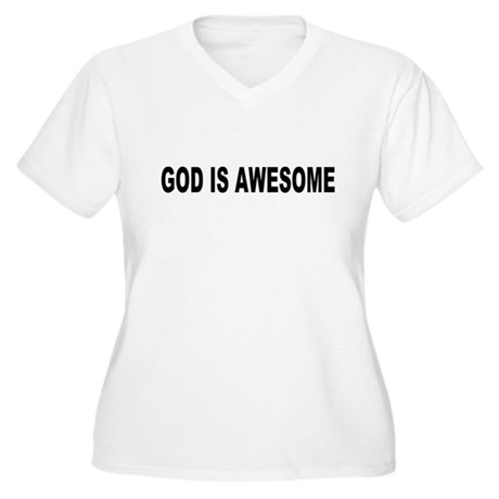 God Is Awesome Plus Size V-Neck Shirt