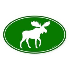 Moose Green Oval Decal