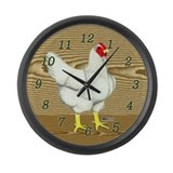 Brown Wood Hen Large Wall Clock