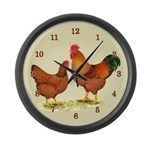 New Hampshire Chickens Large Wall Clock