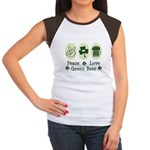 Peace Love Green Beer Women's Cap Sleeve T-Shirt