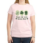 Peace Love Green Beer Women's Light T-Shirt