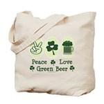 Peace Love Green Beer Tote Bag
