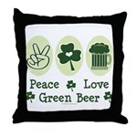 Peace Love Green Beer Throw Pillow