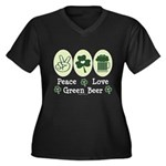 Peace Love Green Beer Women's Plus Size V-Neck Dar