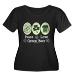 Peace Love Green Beer Women's Plus Size Scoop Neck
