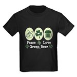 Peace Love Green Beer Kids Dark T-Shirt