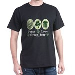 Peace Love Green Beer Dark T-Shirt