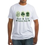 Peace Love Green Beer Fitted T-Shirt