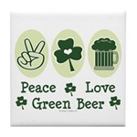 Peace Love Green Beer Tile Coaster