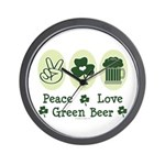 Peace Love Green Beer Wall Clock