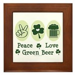 Peace Love Green Beer Framed Tile
