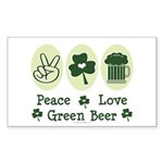 Peace Love Green Beer Rectangle Sticker