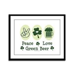 Peace Love Green Beer Framed Panel Print