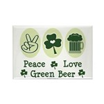 Peace Love Green Beer Rectangle Magnet (10 pack)