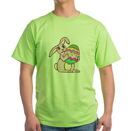 Pink Easter Bunny Green T-Shirt