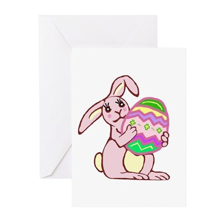 Pink Easter Bunny Greeting Cards (Pk of 10)