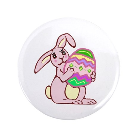 "Pink Easter Bunny 3.5"" Button (100 pack)"