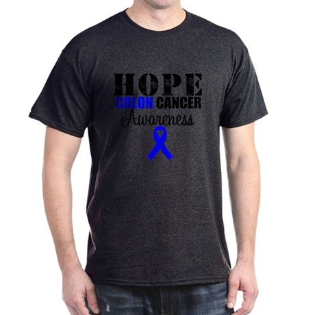 Colon Cancer Hope Ribbon Dark T-Shirt