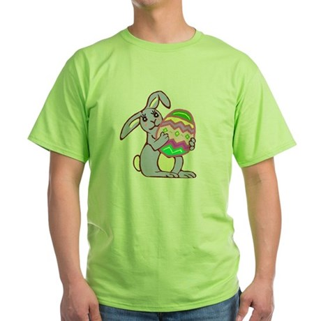 Blue Easter Bunny Green T-Shirt