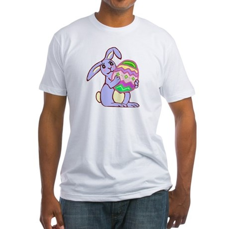 Blue Easter Bunny Fitted T-Shirt
