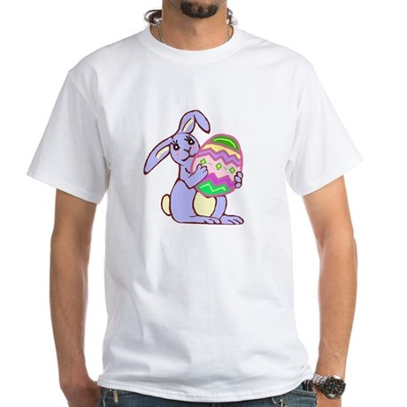 Blue Easter Bunny White T-Shirt