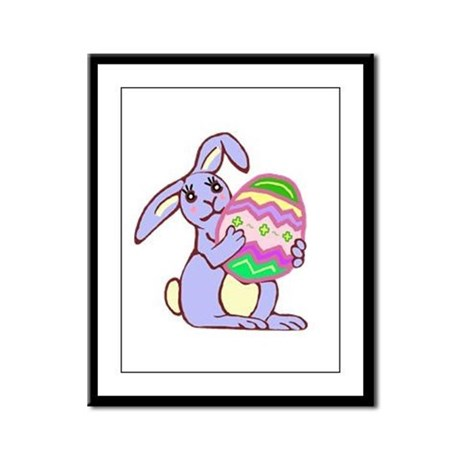 Blue Easter Bunny Framed Panel Print