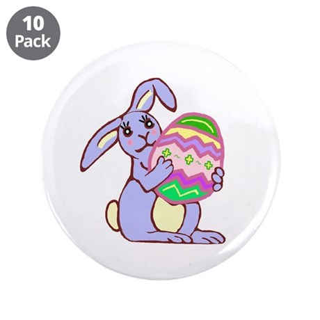 "Blue Easter Bunny 3.5"" Button (10 pack)"