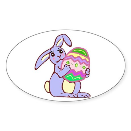 Blue Easter Bunny Oval Sticker