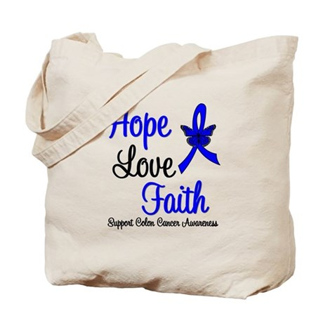 ColonCancer HopeLoveFaith Tote Bag