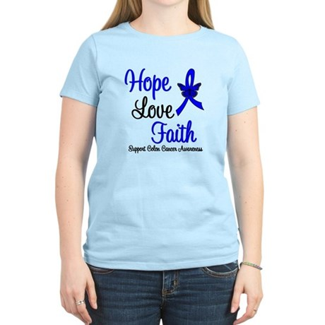 ColonCancer HopeLoveFaith Women's Light T-Shirt