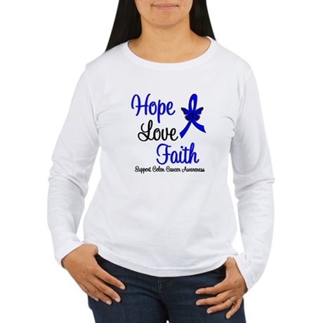 ColonCancer HopeLoveFaith Women's Long Sleeve T-Sh