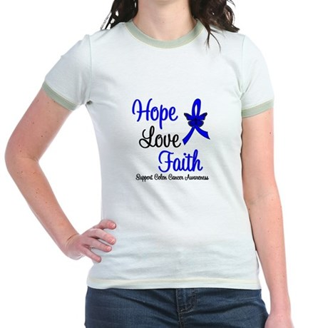ColonCancer HopeLoveFaith Jr. Ringer T-Shirt