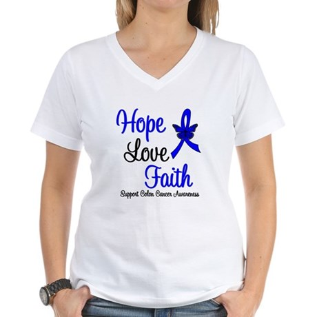 ColonCancer HopeLoveFaith Women's V-Neck T-Shirt