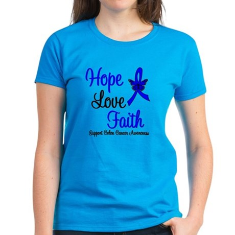 ColonCancer HopeLoveFaith Women's Dark T-Shirt